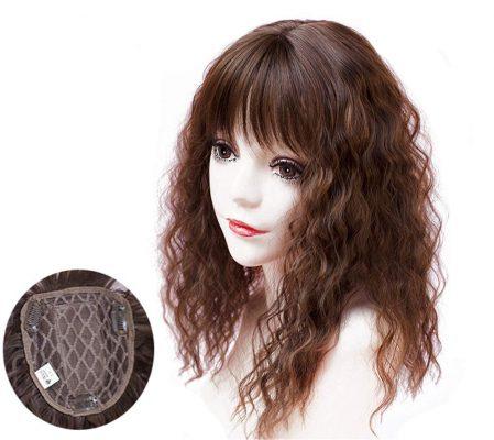 YAIRYANGTZE Curly, Wavy Hair Topper With Bangs