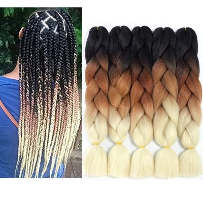 Sunhour Ombre Kanekalon Crochet Box Braids Hair Extensions