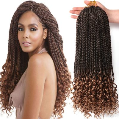 URNice Synthetic Box Braid Crochet Hair With Wavy Ends