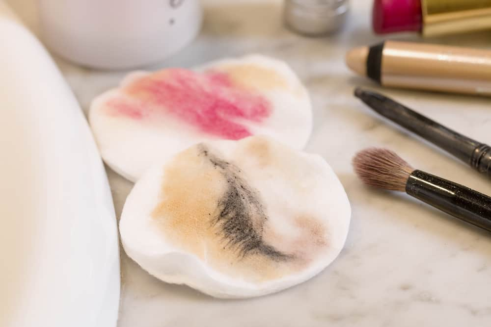 cotton pads with makeup stains