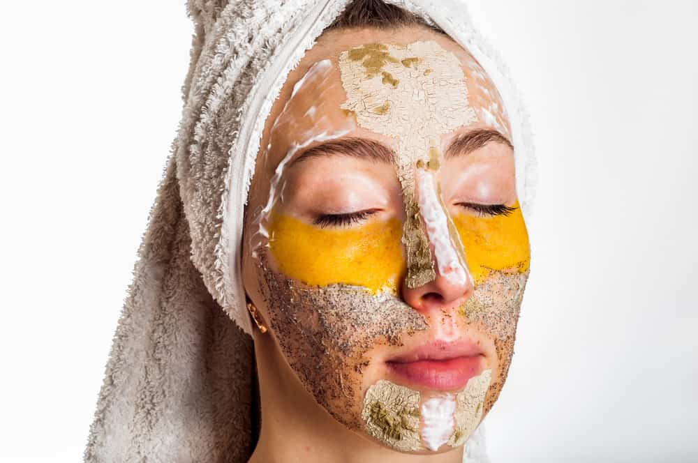 woman with different types of face masks on