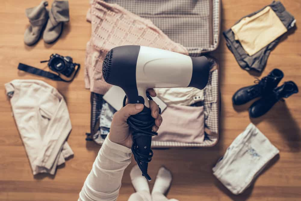 packing a travel hair dryer