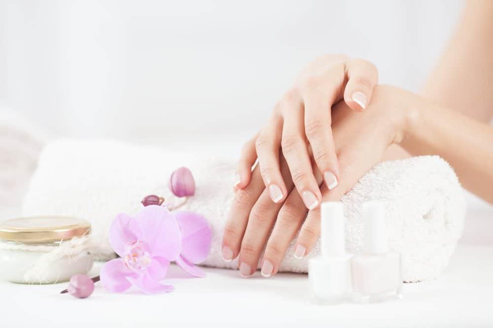 white nails and nail polish