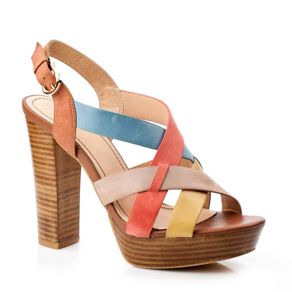 multicolored block heeled platform sandal