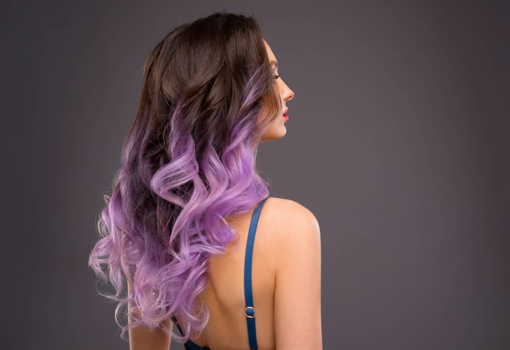 woman with purple ombre hair