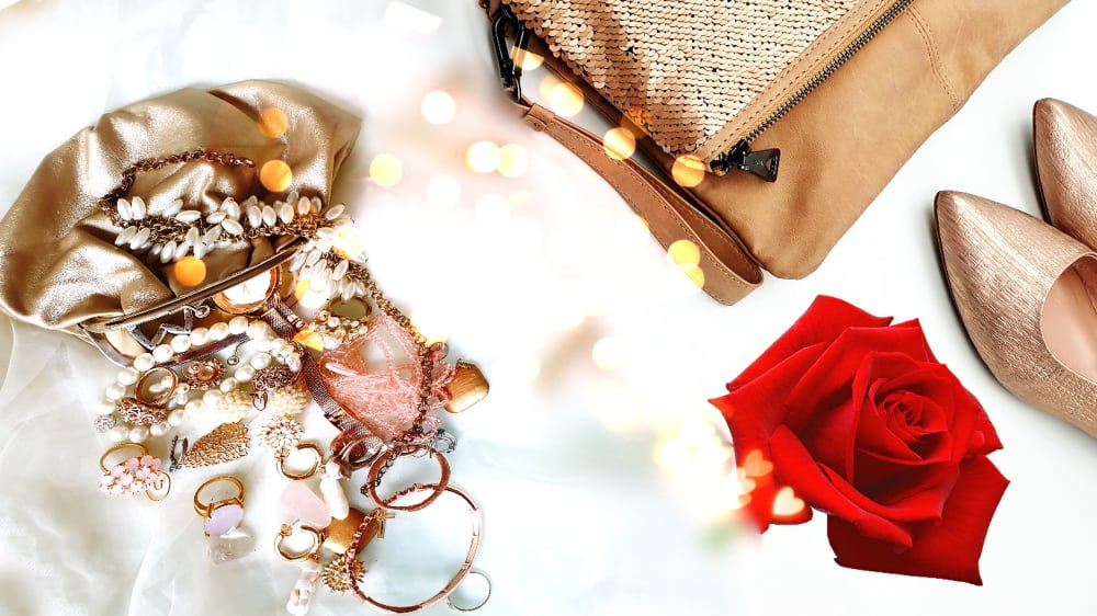 shoes, bag, and jewelry for winter wedding