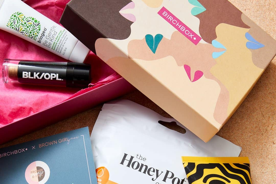 open birchbox with beauty products