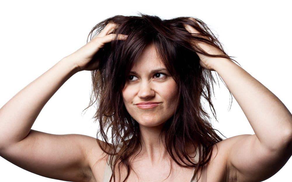 woman with messy hair