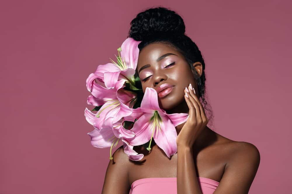 beautiful woman with pink eyeshadow