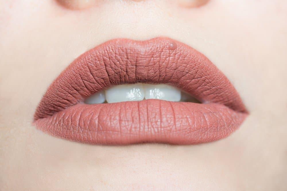 lip closeup with matte liquid lipstick