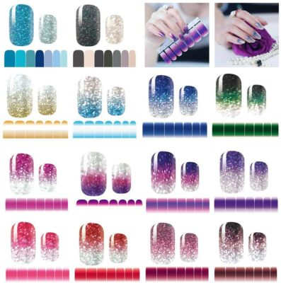 mwellewm Glitter Gradient Color Shine Nail Polish Strips