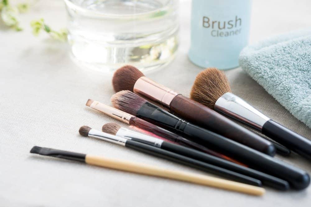 makeup brushes near makeup cleaner