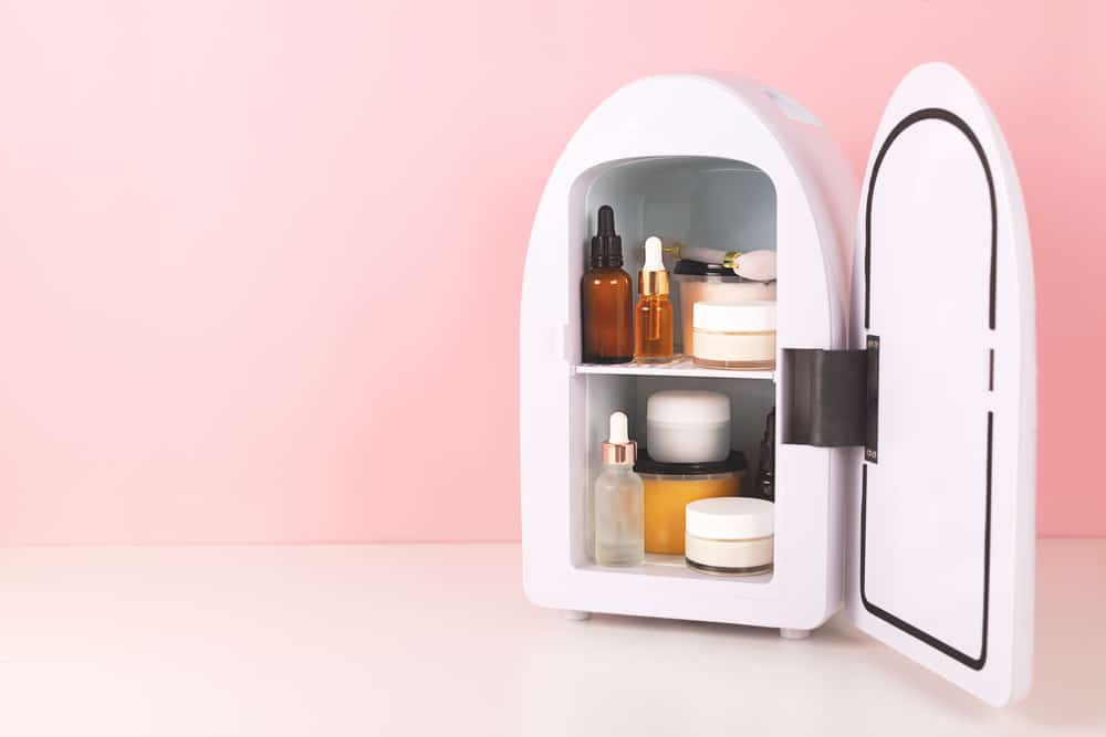 mini skincare fridge with cosmetics inside