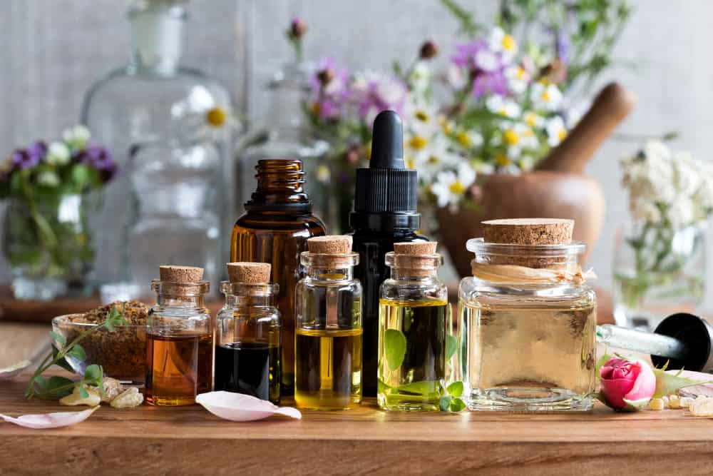 a selection of essential oils with their respective herbs