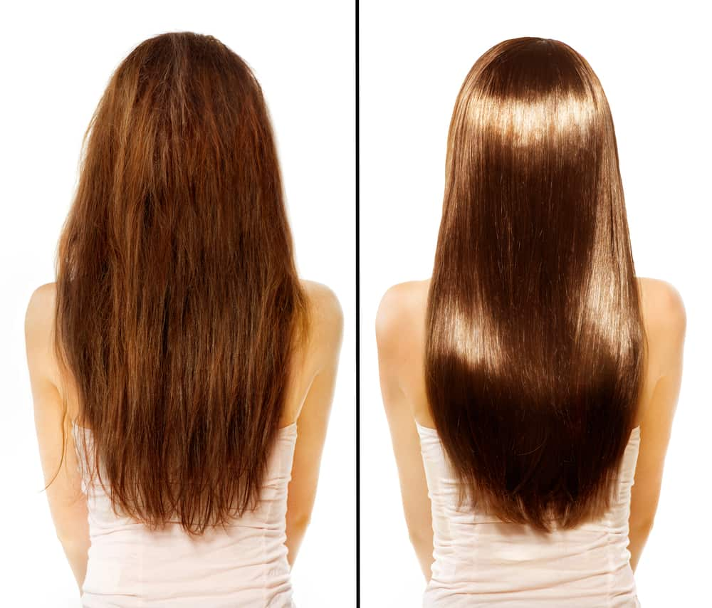 before and after photos of a person's hair going from damaged to smooth