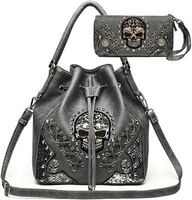 Cowgirl Trendy Sugar Skull Bucket Bag & Wallet