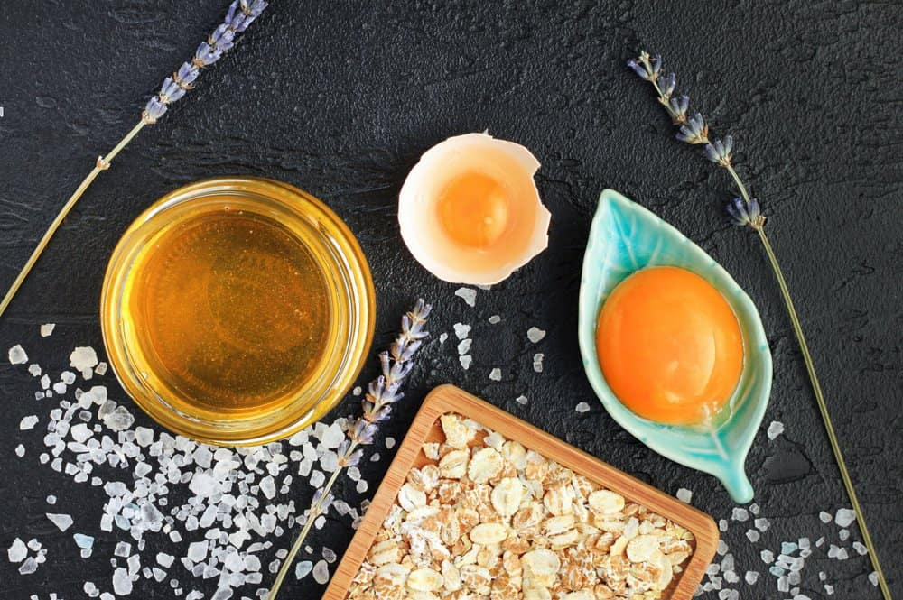 honey and egg ingredients for DIY mask