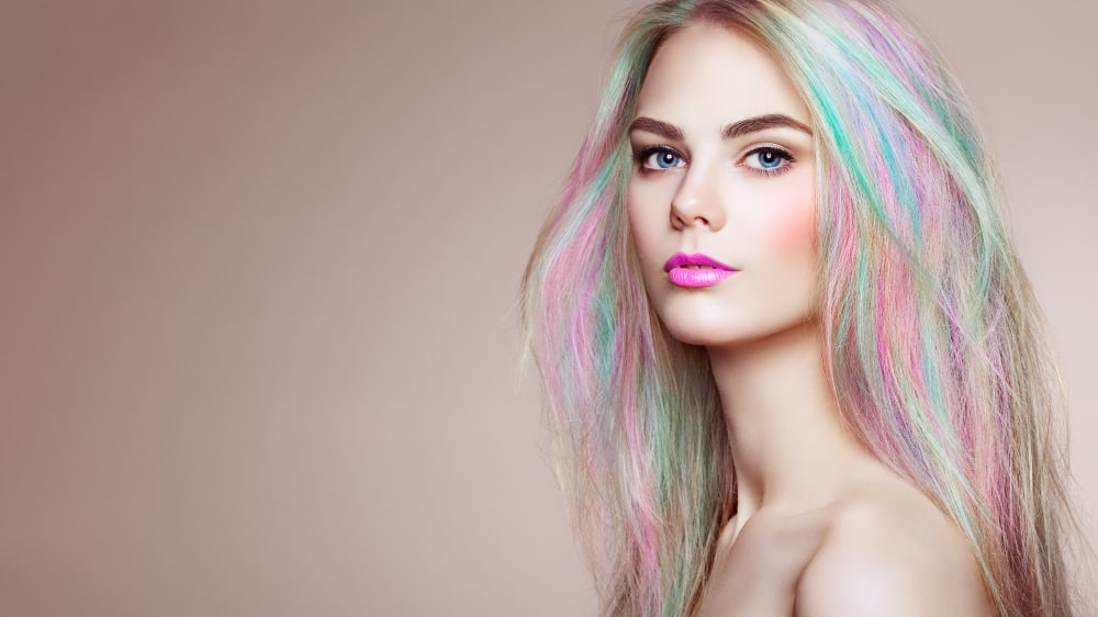 woman with faded pastel dye