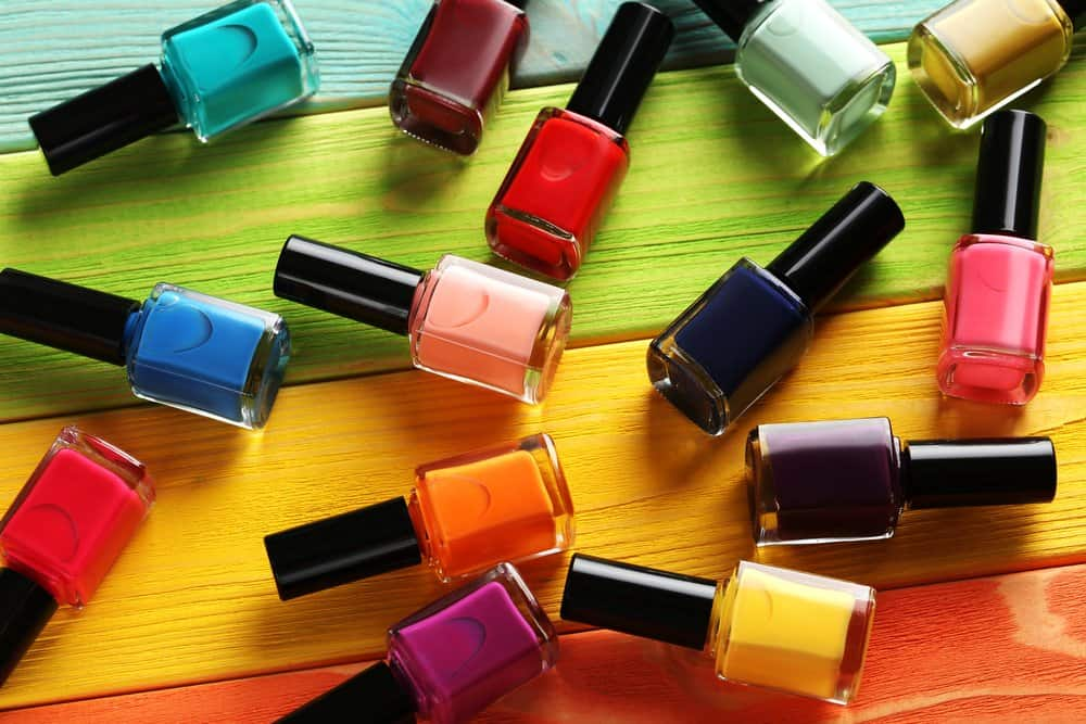 assorted colorful nail polishes
