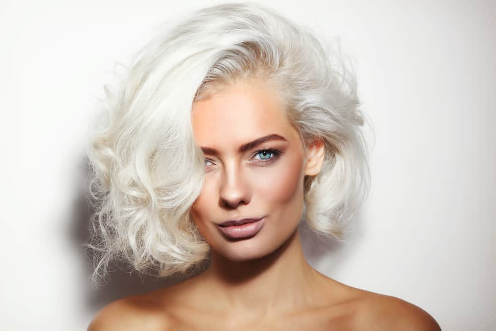 woman with bleached platinum hair