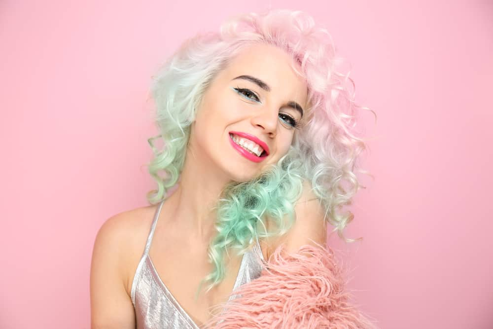 woman with curly pastel hair