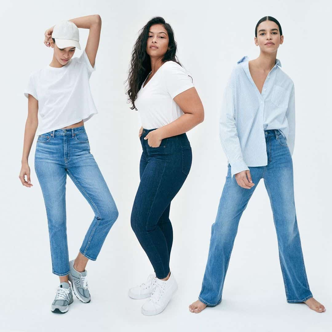 3 models in jeans and button-downs