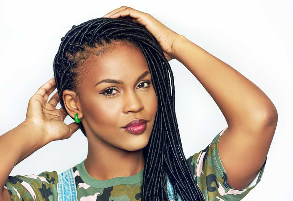 woman with long braids