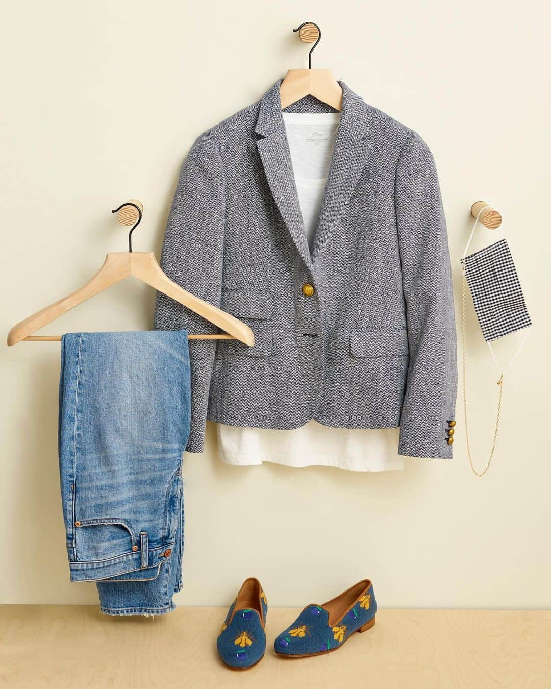 Blazer, tee, jeans, and loafers