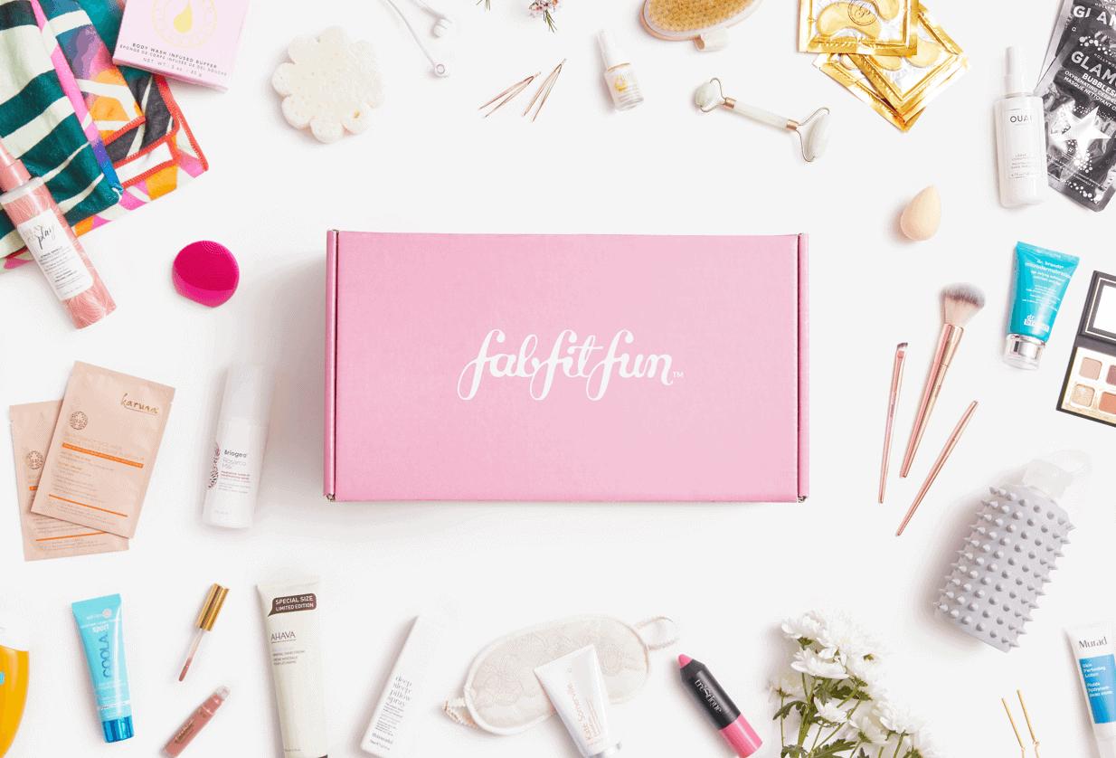 FabFitFun box surrounded by products
