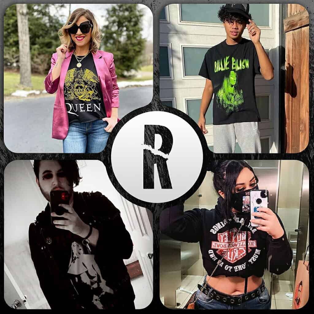 Four people in band tees