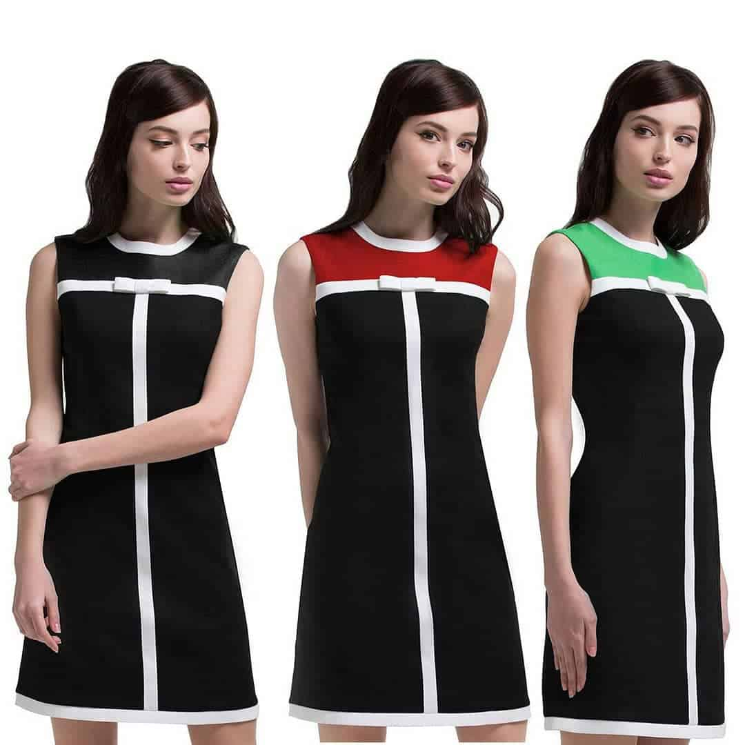Model in 3 colors of mod dress