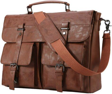 Seyfocnia Men's Faux Leather Satchel