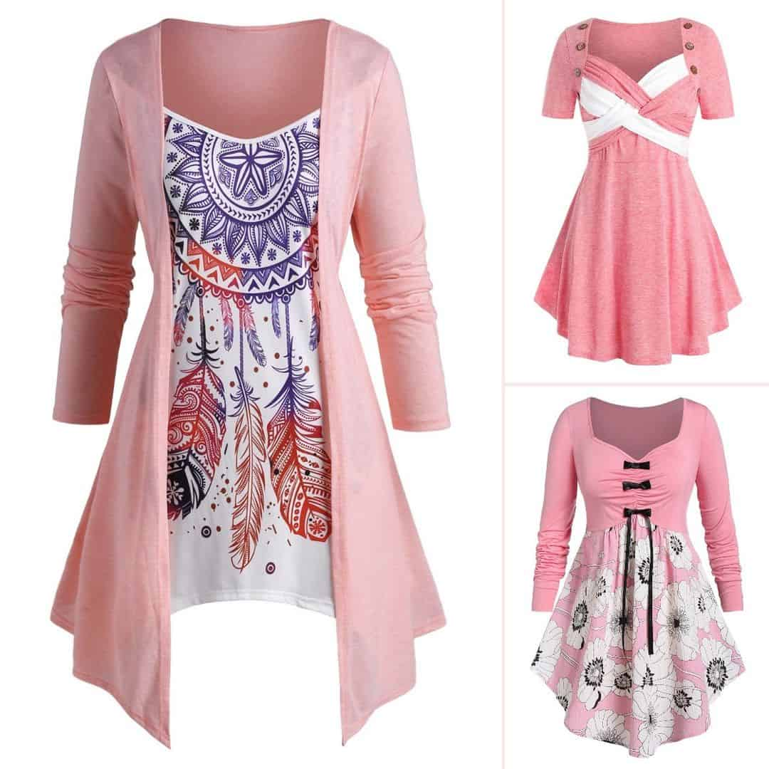 Three tunic blouses in pink