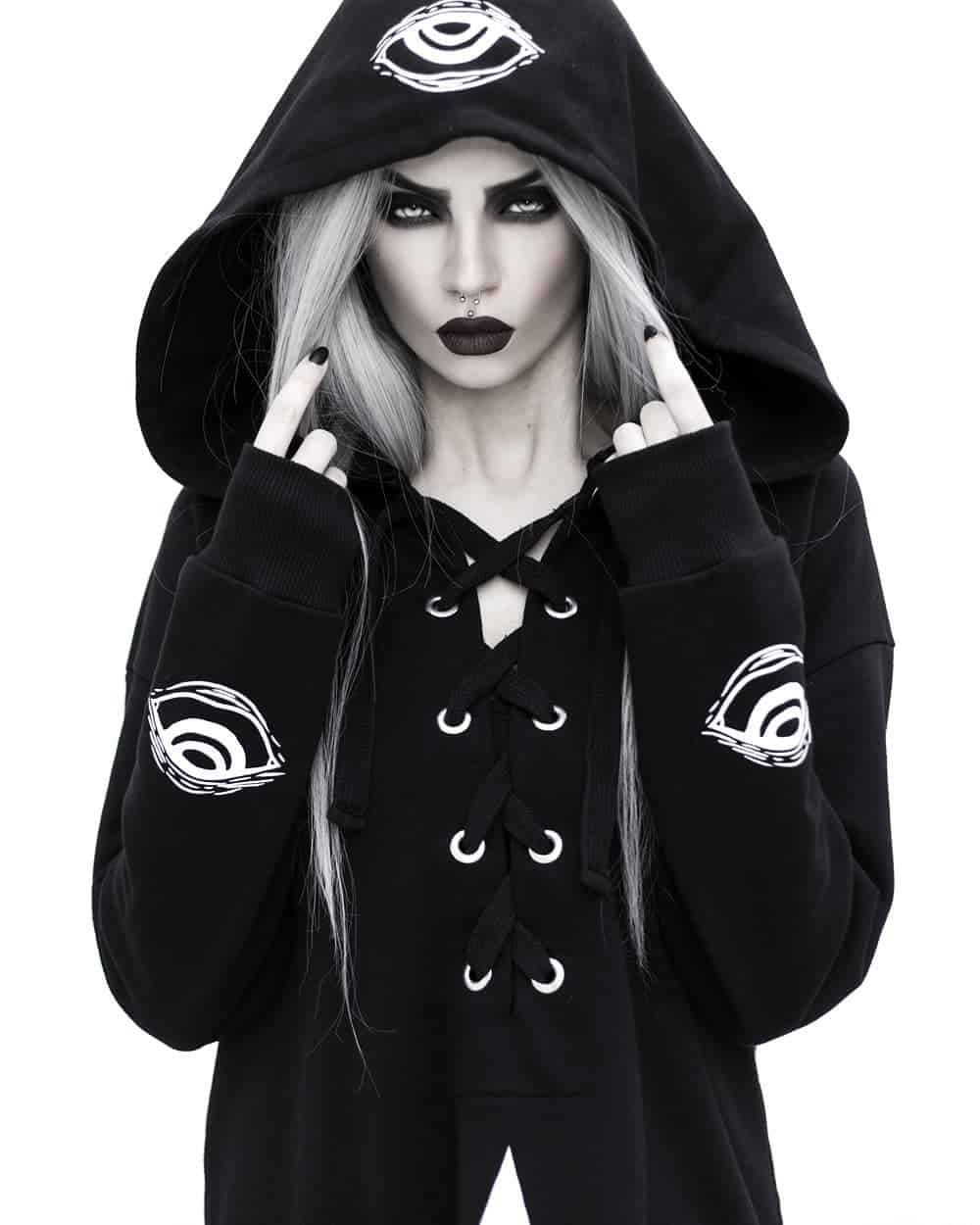 Witchy woman in black hoodie