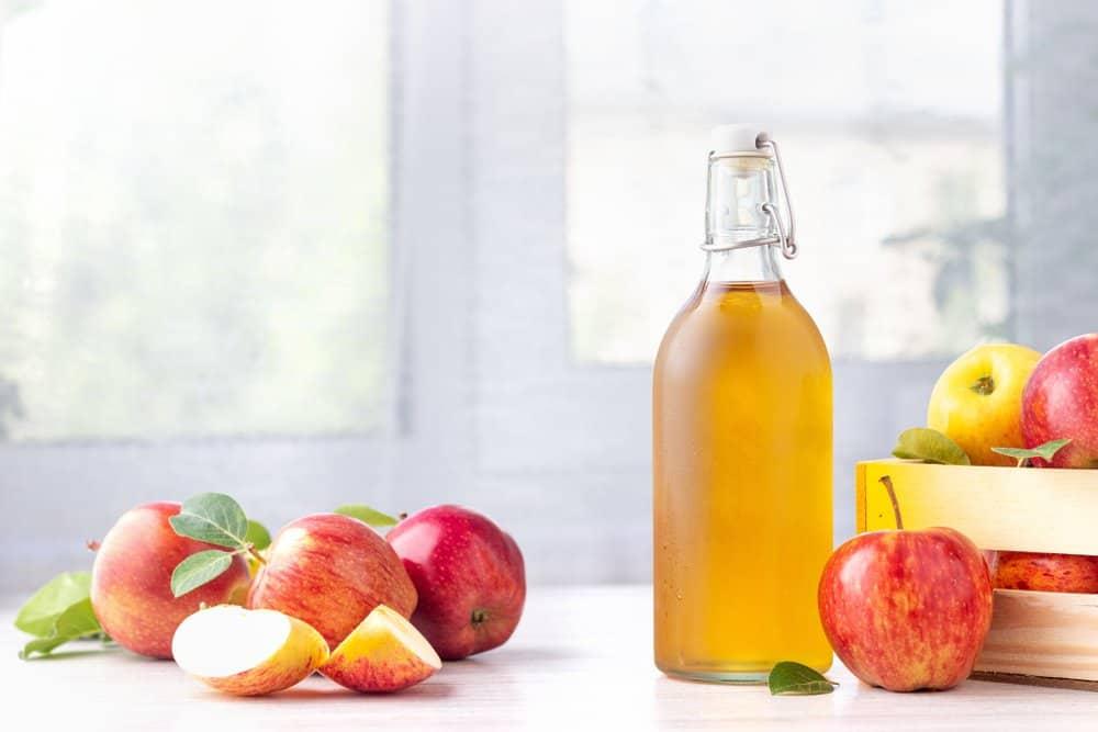 a bottle of apple cider vinegar along with some apples