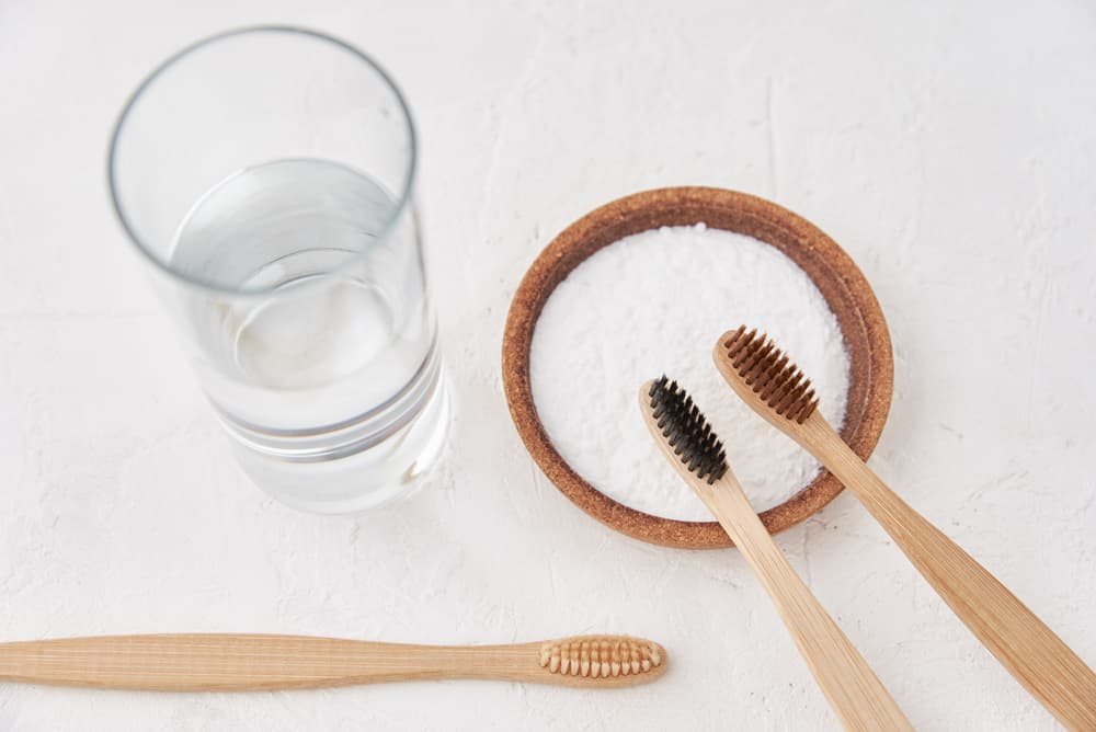 baking soda paste with toothbrushes