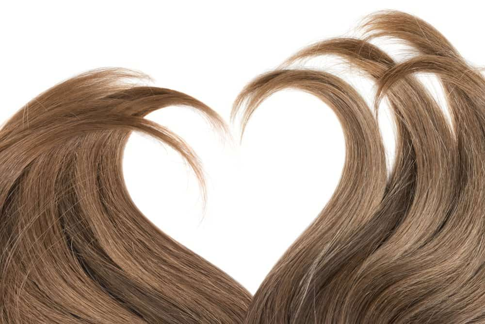 brown hair in a heart shape