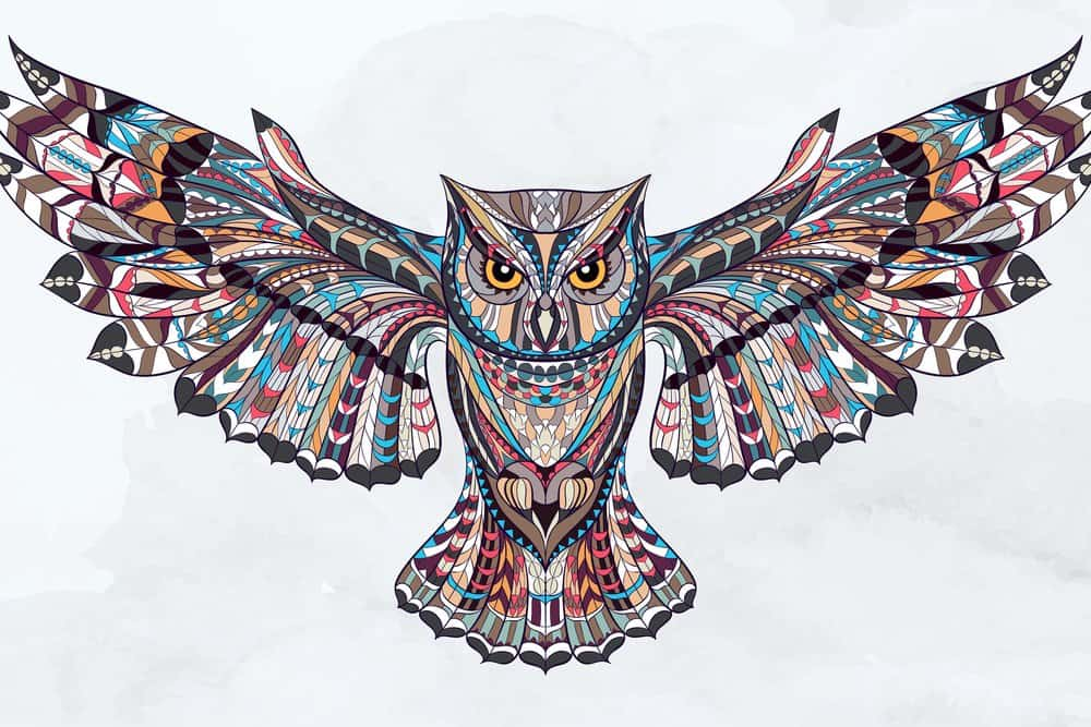 colorful owl tattoo sketch