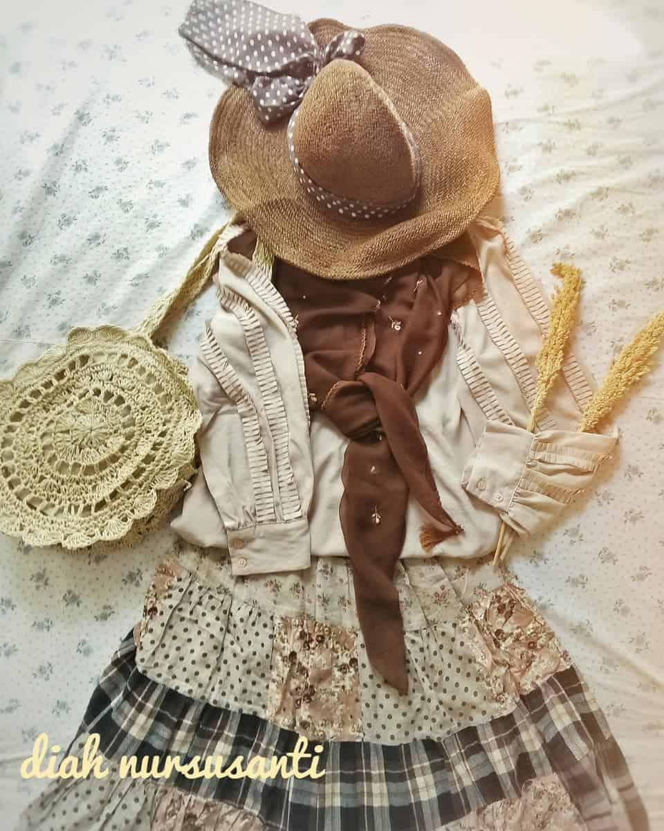 layered mori kei outfit
