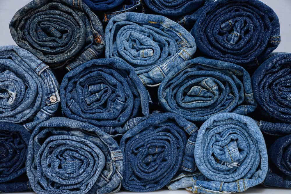 rolled denim blue jeans
