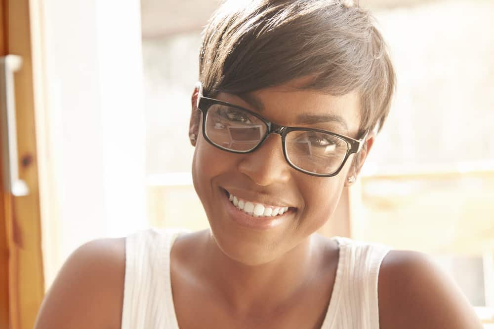 woman with pixie cut