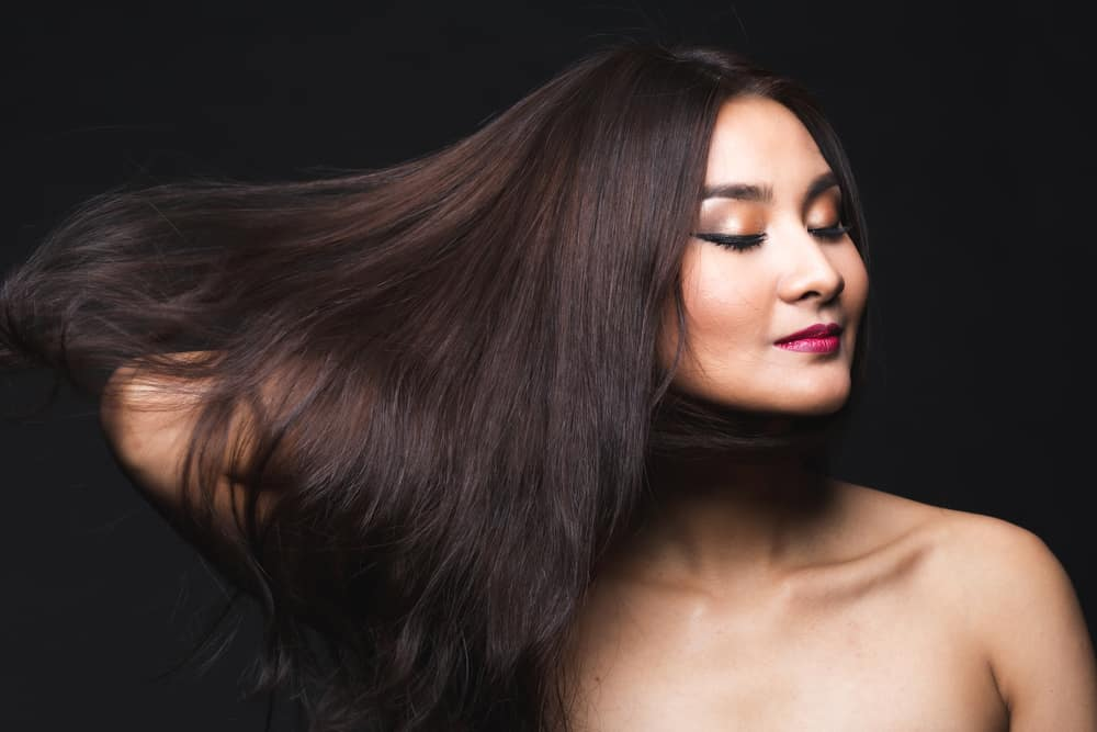 Asian woman with natural black hair