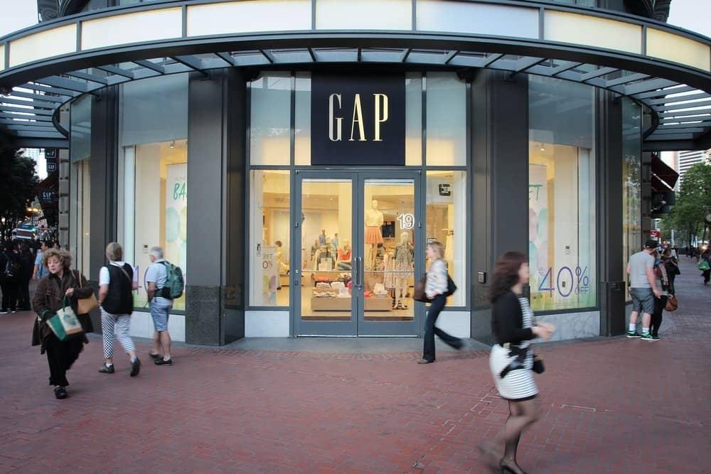 GAP storefront people walking