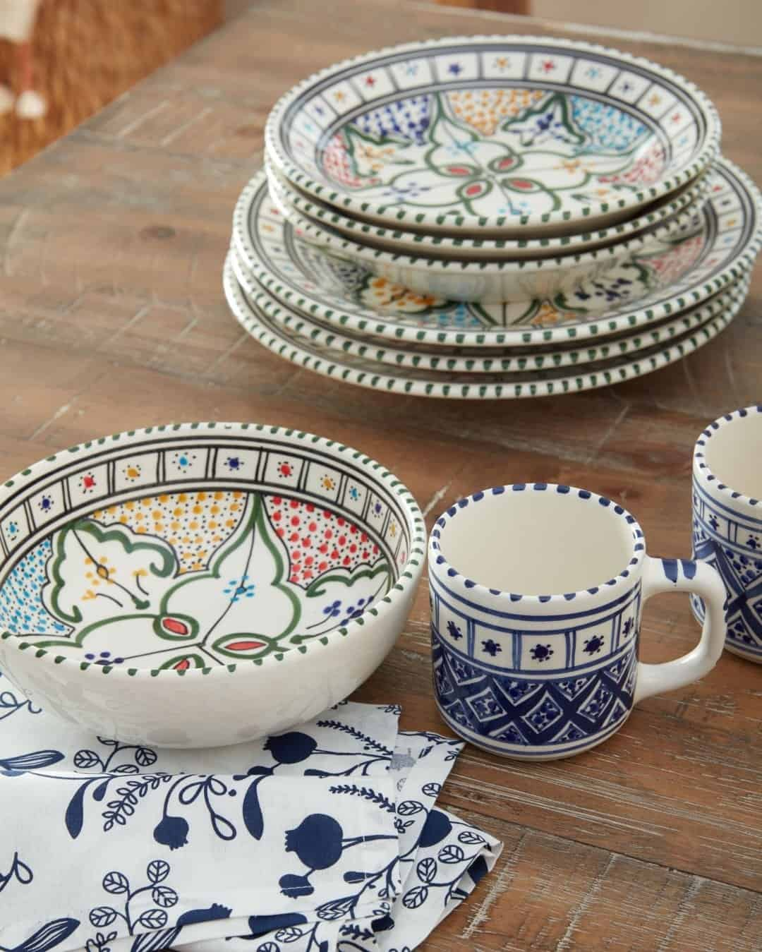 Mosaic dishes on a table