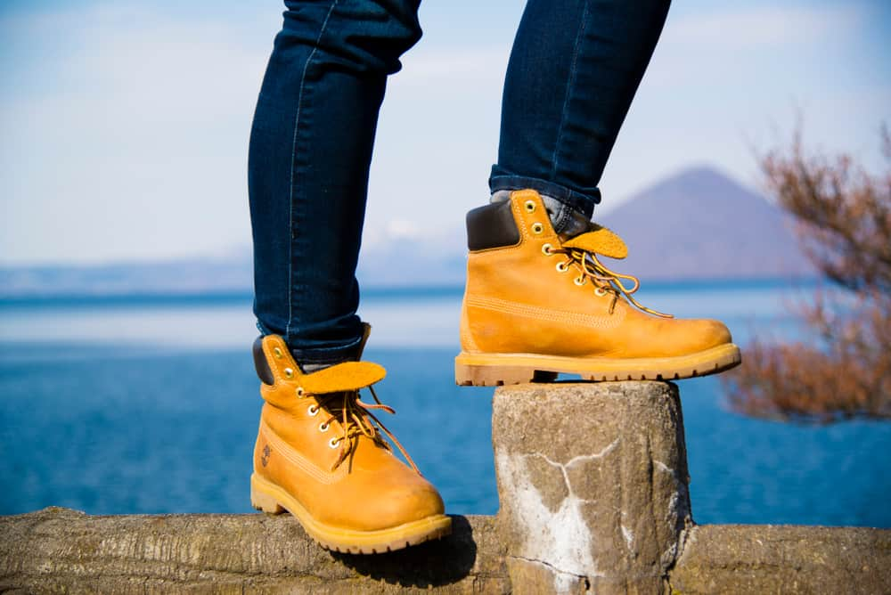 person wearing Timberland boots