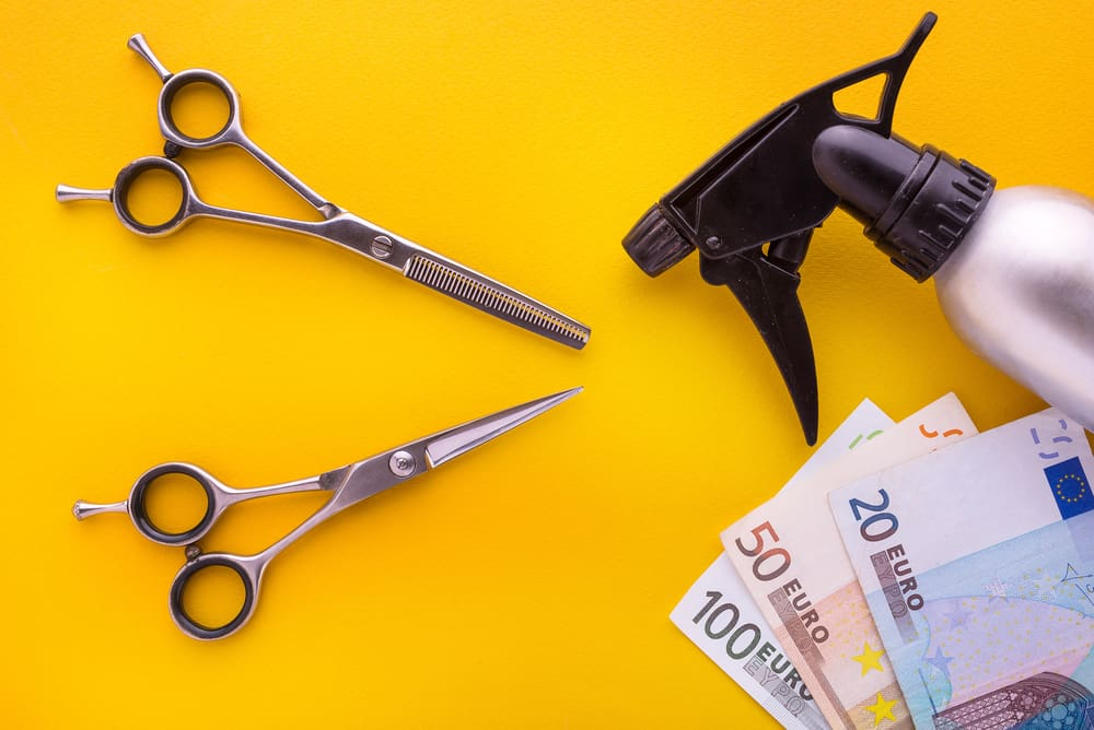 barber accessories with money