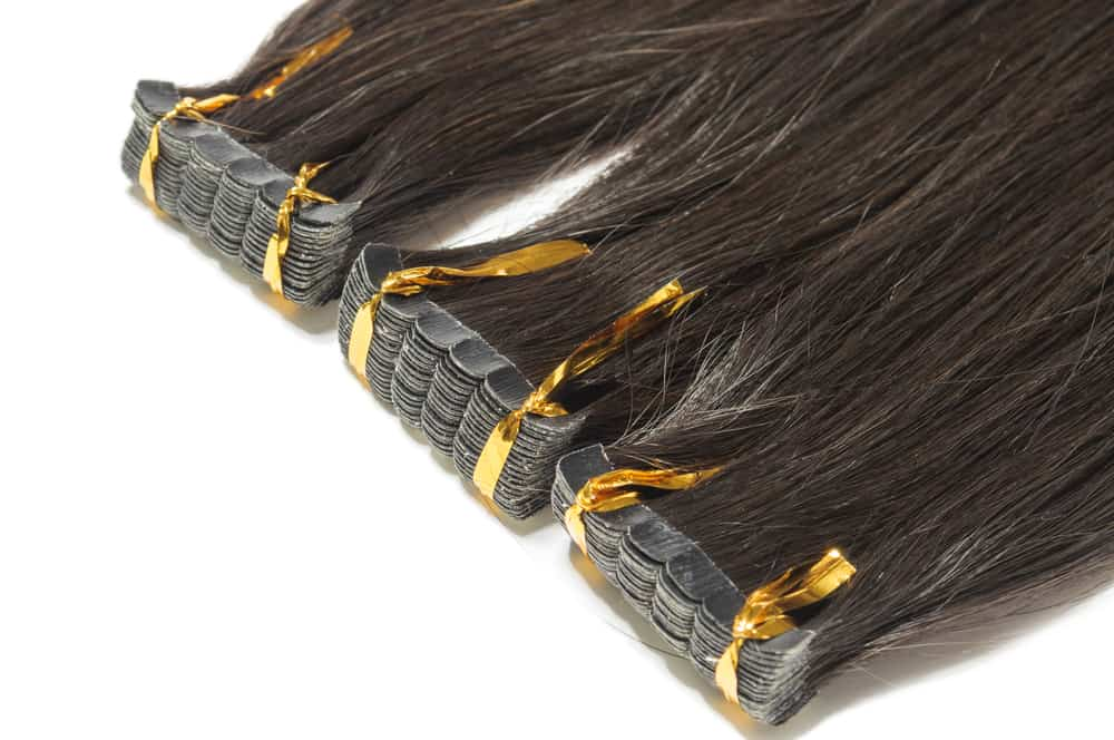 black tape-in hair extensions