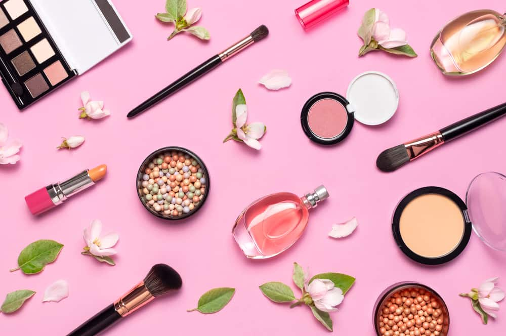 decorative makeup items near flowers