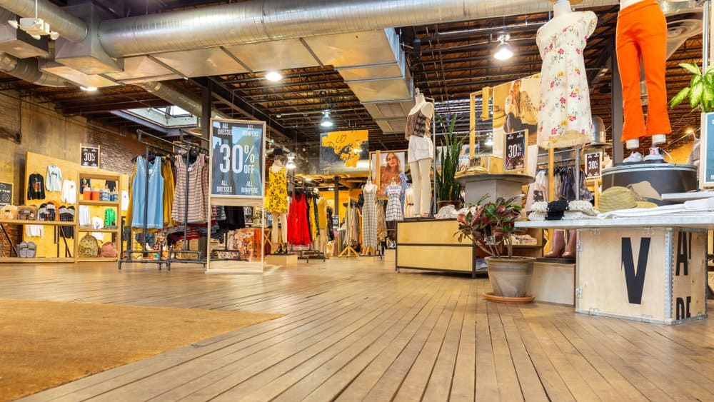 inside Urban Outfitters store layout