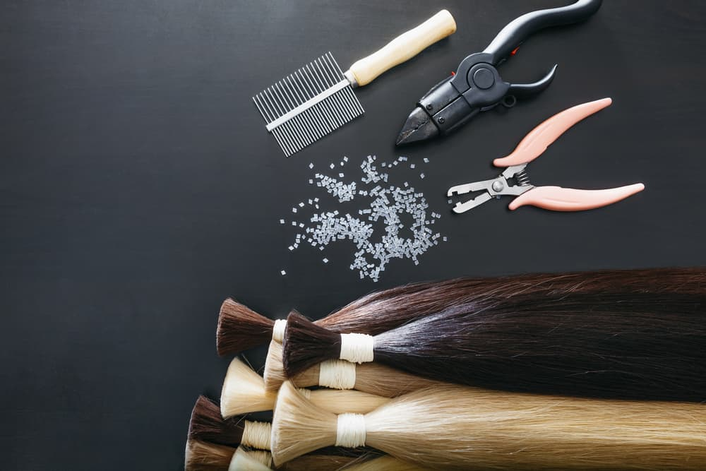 set of hair extension tools